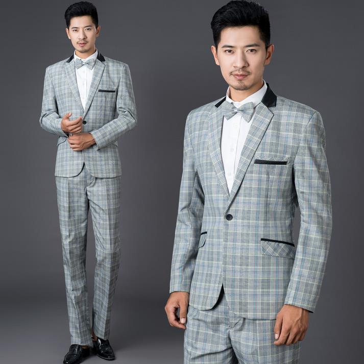 Grey plaid formal dress set men suit latest coat pant designs mens ...