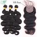 Бразильский Девственные Волосы Шелк База Закрытие С Пучками 3 Расслоения С Шелковой Закрытие Необработанные Человеческих Волос WithSilk База Закрытие