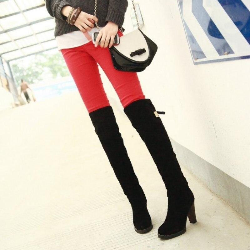 Botas Sobre P7909 Mujeres La Moda Cuadrado Zapatos Tacón rojo marrón Aicciaizzi Alto De Negro Arranque Nieve Mujer Invierno 34 Rodilla 43 xITqWw5z