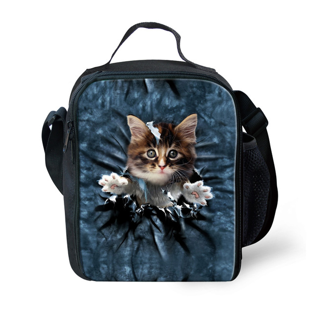 Cute 3D Animal Cat Printing Lunch Bags for Girls Boys Insulated Thermo Lunchbag Casual Adult Picnic Lunch Box Lancheira