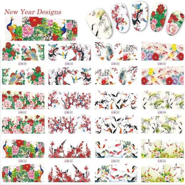 12 Designs Nail Art Mixed Blume/Vogel/Hill Vollstempel Abziehbilder ...