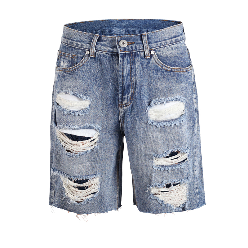 High Quality 2019 Hot Sale Men's Summer Hiphop Fashion Sweat Shorts Casual Joggers Trousers Destroyed Jeans Black Jeans Shorts