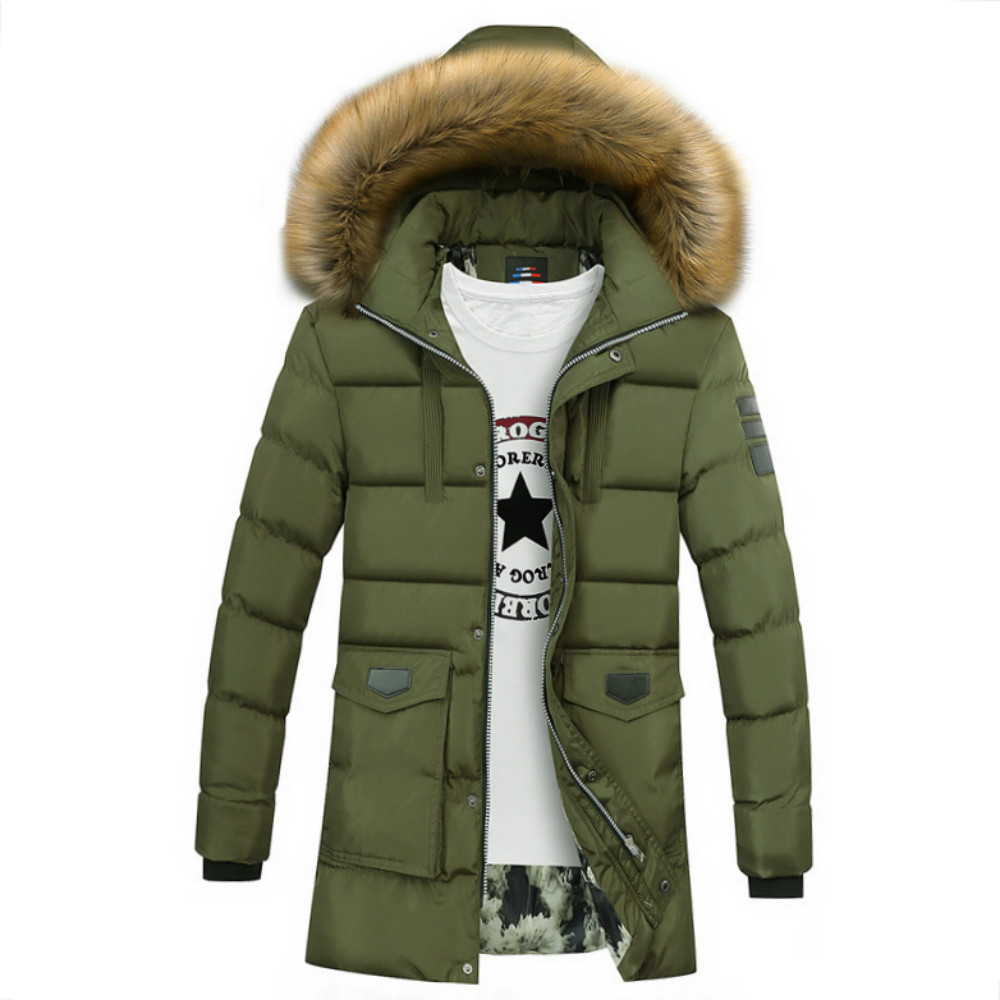 New Winter   Parka   for Men Jacket Solid Bubble Coat Knee-length Puffer Jacket Warm Outwear Winter Jacket Men Windproof Hooded Coat