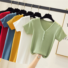 High Elasticity New Summer Ribbed Women T Shirt Fashion Button Girls Knitted Short Sleeves Tees Top V-Neck Female Casual T-shirt summer sleeveless women tank top high elasticity knitted ice silk top fashion ribbed knitwear sweater vest cozy female tee shirt
