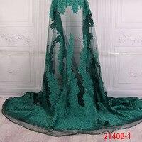 Африканский кружевной ткани 2018 высокое качество кружева для ткань невесты свадьба в нигерийском стиле зеленый тюль кружевной ткани с камня...
