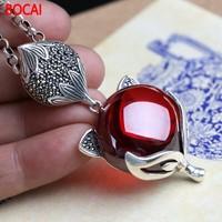 S925 silver fox red pomegranate sweater chain Pendant Necklace Silver retro female birthday gift wholesale