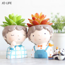 JO LIFE  Home Decoration Carton Succulent Planter Desktop Flower Pot European Style Mini Resin Boy Flower Pot
