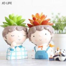 Jo vida decoração para casa caixa suculenta plantador vaso de flores desktop estilo europeu mini resina menino vaso de flores