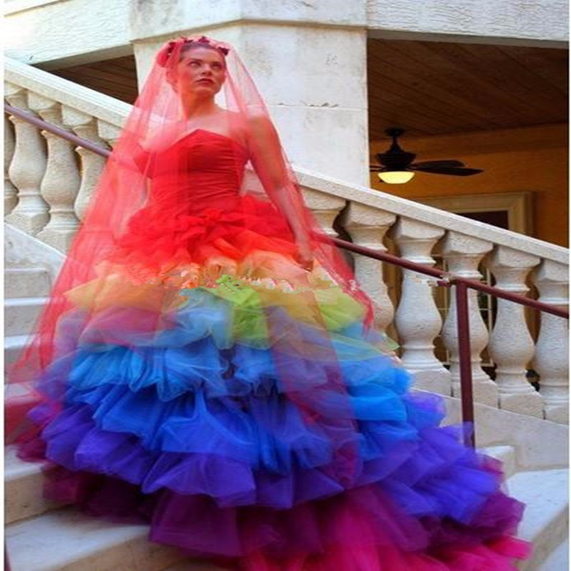 2017 Sweetheart Red Blue Colorful Rainbow Gothic Wedding
