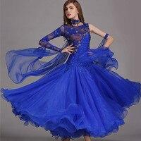 ballroom dance dresses women standard ballroom dancing clothes Competition standard dance dress waltz foxtrot dress sequins blue