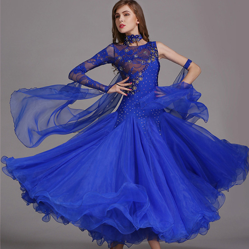 Ballroom Dance Dresses Women Standard Ballroom Dancing Clothes Competition Standard Dance Dress Waltz Foxtrot Dress Sequins Blue