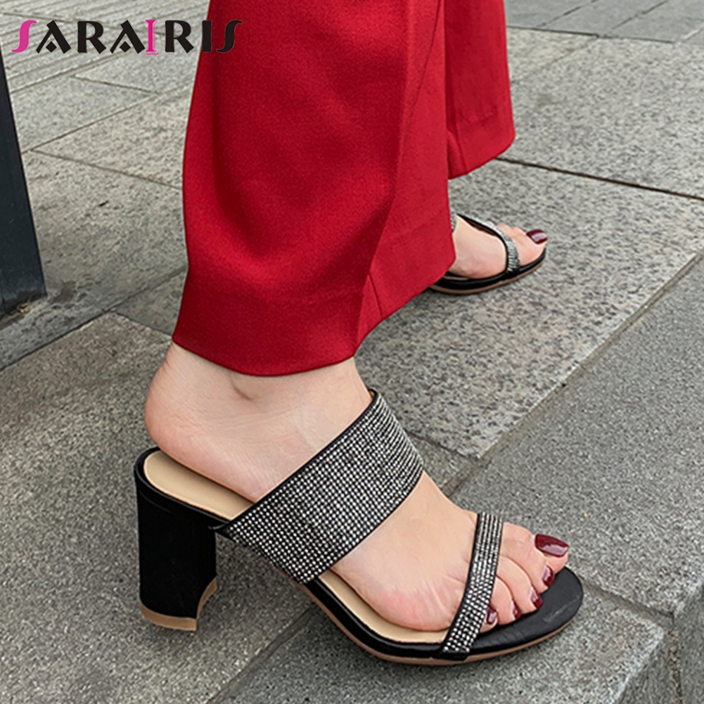SARAIRIS Fashion New Hot Peep Toe Top Quality Bling Luxury Shoes Woman Pumps Mules Chunky Heels Outdoor Pumps Woman Shoes MulesSARAIRIS Fashion New Hot Peep Toe Top Quality Bling Luxury Shoes Woman Pumps Mules Chunky Heels Outdoor Pumps Woman Shoes Mules