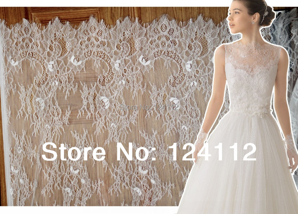 3 3 yards french style off white bilateral chantilly lace for White lace fabric for wedding dresses