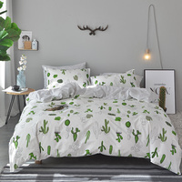 Lai Yin Sun Include Duvet cover Pillow cases BedSheet Bedding Sets Simple 100% Cotton twin queen king size Simple style Cactus