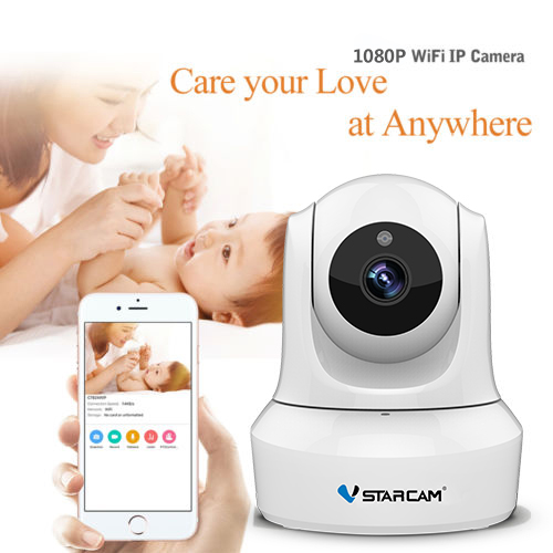 VStarcam 1080 P Monitor Do Bebê IP Wi-fi Câmera de Vídeo Vigilância Câmera De Segurança Sem Fio com Áudio Bidirecional Night Vision C29S branco