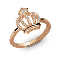 AILIN Customized Birthstone Crown Ring With Star Rose Gold Color My Princess Ring Women Jewelry