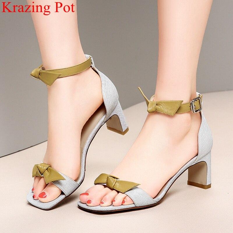 Superstar peep toe boucle sangle papillon-noeud haut talon femmes sandales boîte de nuit fête douce couverture talon élégant chaussures d'été LD8