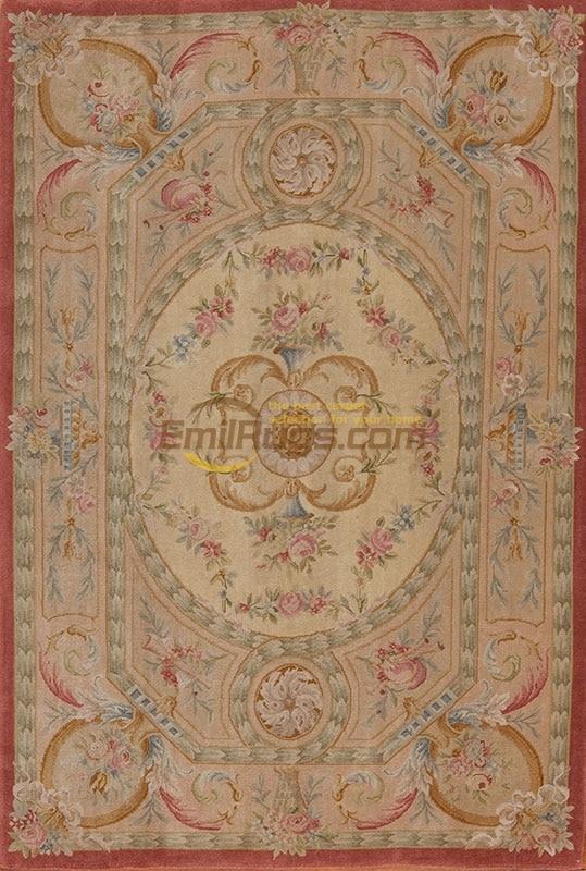 Grand tapis de Savonnerie Antique fait main tapis Antique décor coureur tapis turquie laine de mouton naturelle