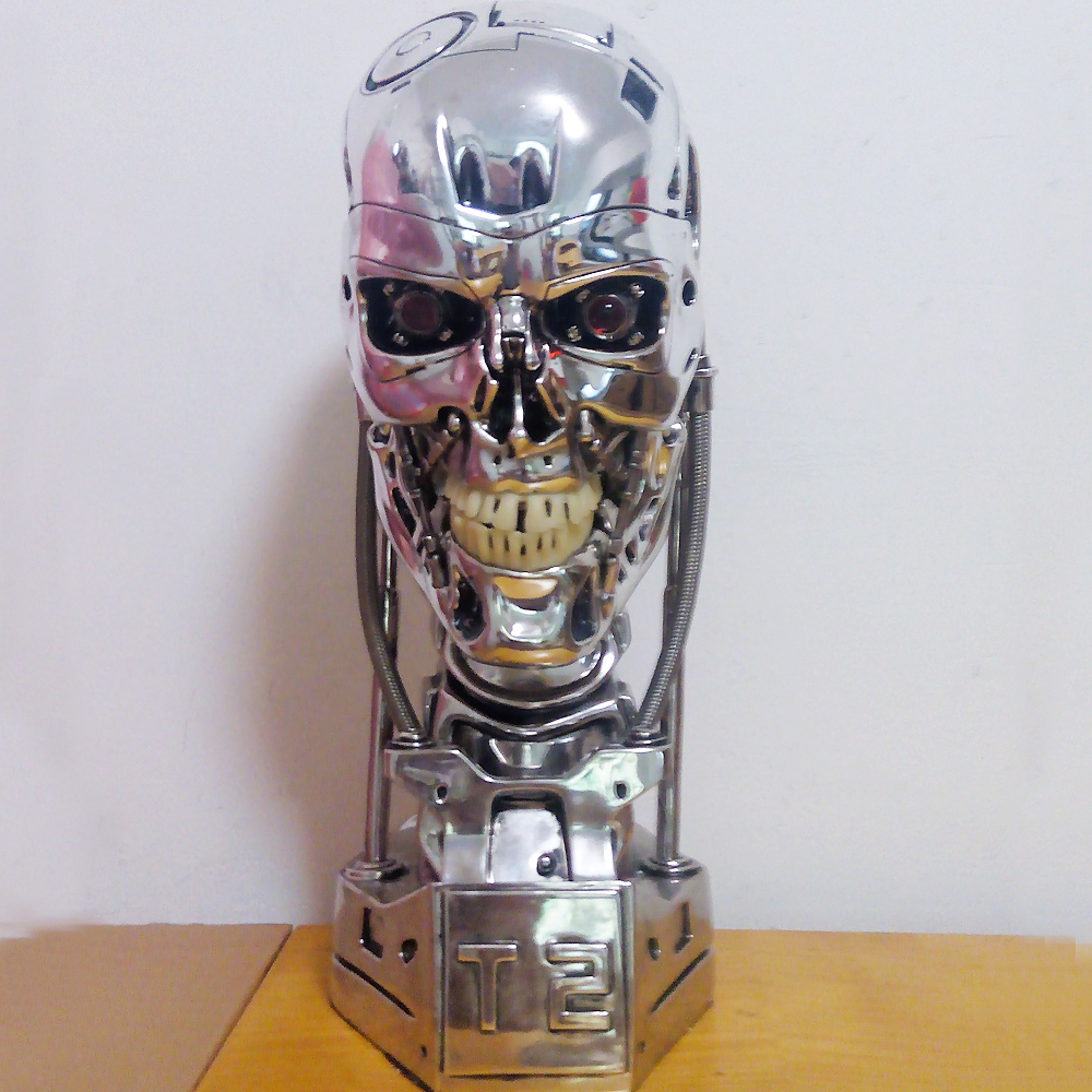 High Quality 1/1 Scale Terminator T800 T2 Skull Endoskeleton Lift-Size Bust Figure Resin Replica LED EYE gmasking terminator 2 t800 endoskeleton skull head statue scale 1 2 replica