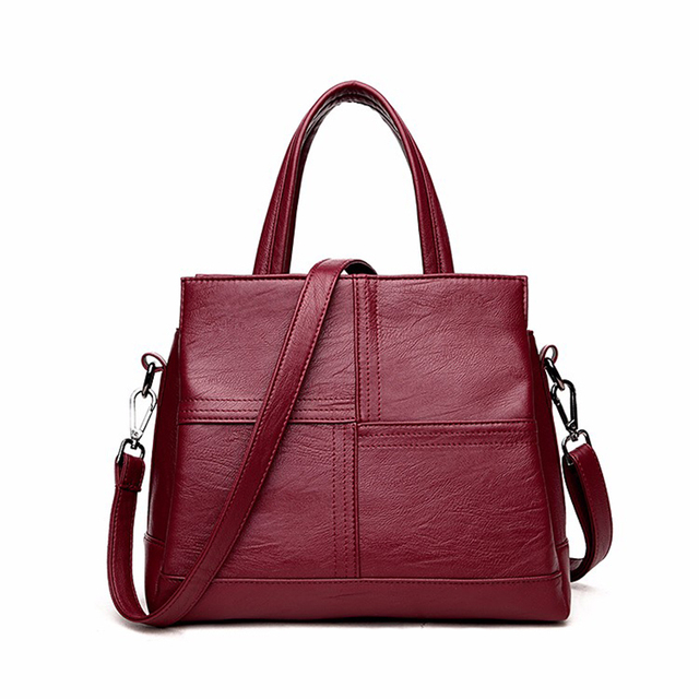 Red Leather Bags Europe And America Luxury Handbags Women Designer Black Elegance Las Handbag