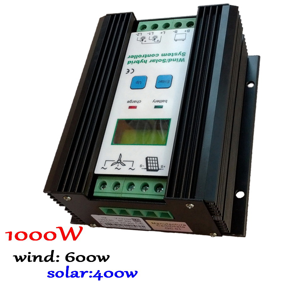 wind 600w + solar 400w 12/24v auto Off Grid Intelligent MPPT Wind Solar Hybrid Controller with LCD Dispaly 600w wind solar hybrid controller 400w wind turbine 200w solar panel charge controller 12v 24v auto with big lcd display