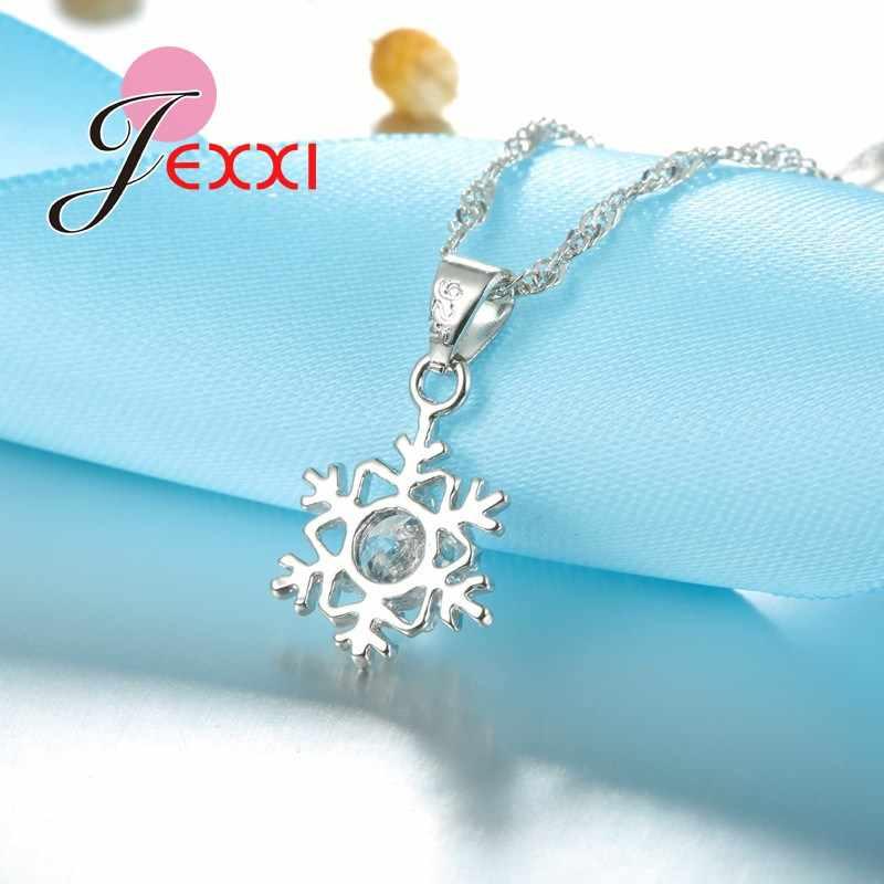 אלגנטי רומנטי Snowflake תליון קריסטל קישוט 925 כסף סטרלינג שרשרת שרשרת עגילי סט נשים תכשיטי חג המולד