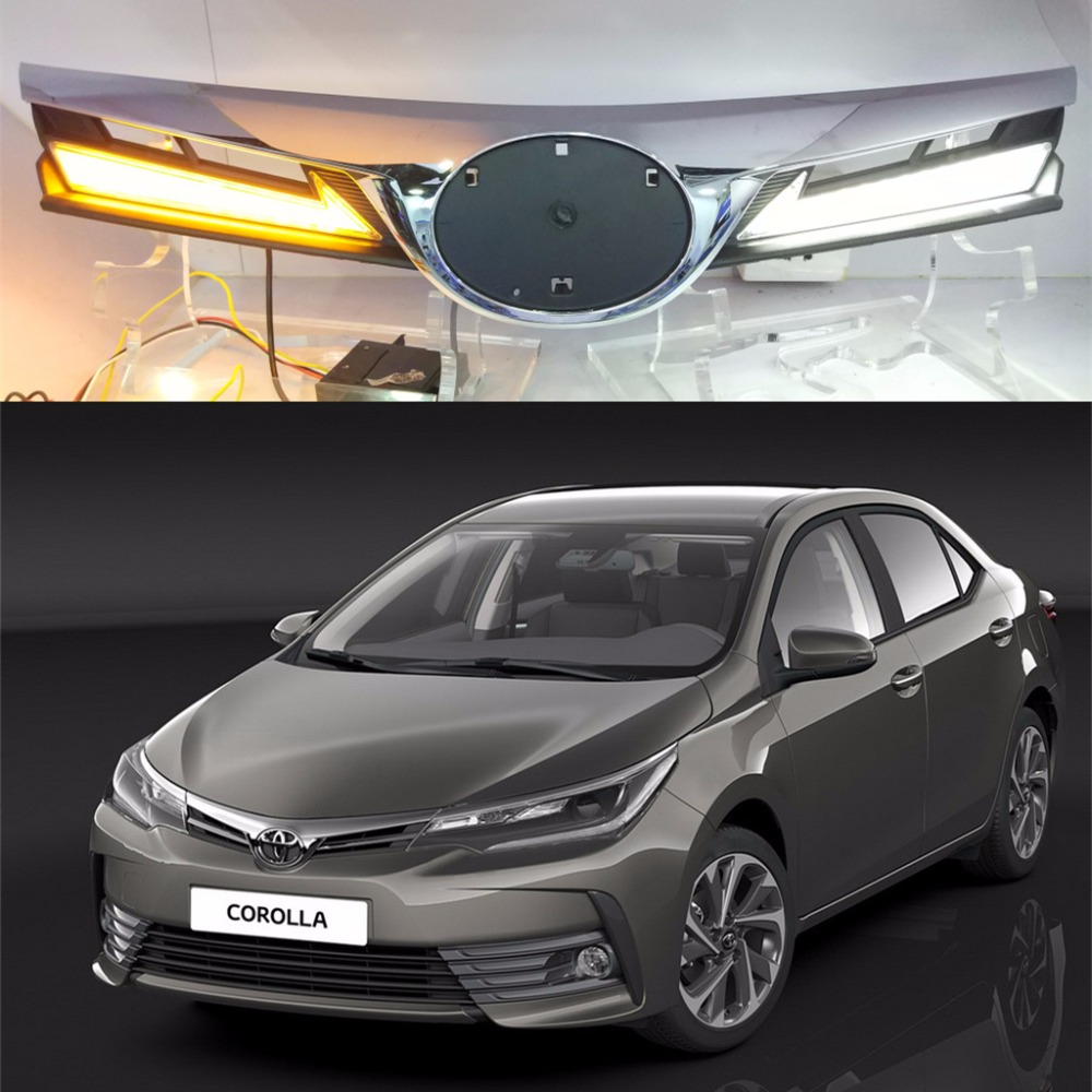 LED DRL for toyota corolla 2017 2018 daytime running light net light car light accessiores Car modification play