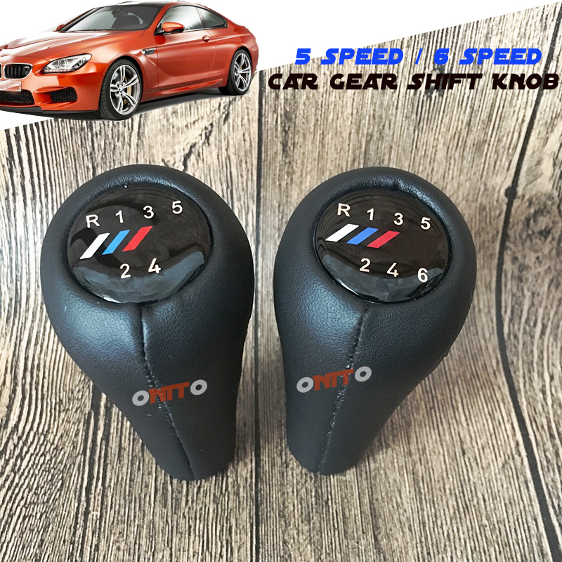 5 6 Speed Real Leather Manual Gear Lever Knob M Logo Shift For BMW E30 E32 E34 E36 E38 E39 E90 E91 E92 F30 Z5 F20 M3 M4 M5 X5 X6