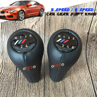 5 6 Speed Real Leather Manual Gear Lever Knob M Logo Shift For BMW E30 E32