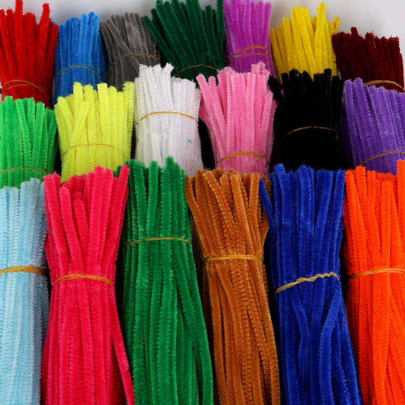 Toys Cleaners Craft-Supplies Stems-Pipe Plush Handmade DIY Chenille Colorful Kids 100pcs