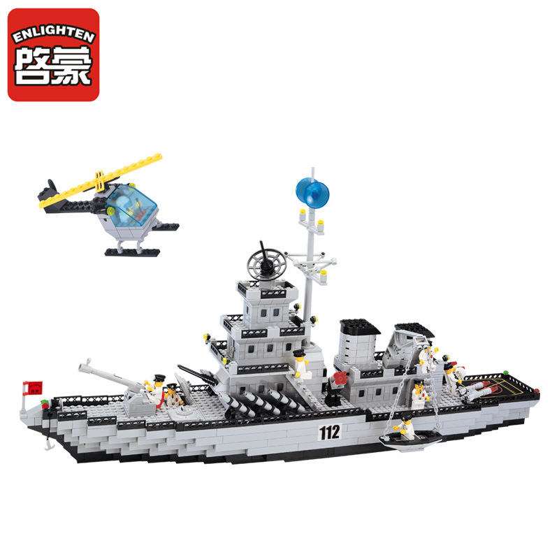 ENLIGHTEN City Military Navy Patrol Warships Destroyer Battleship Building Blocks Sets Bricks Model Kids Toys Compatible Legoe enlighten building blocks navy frigate ship assembling building blocks military series blocks girls
