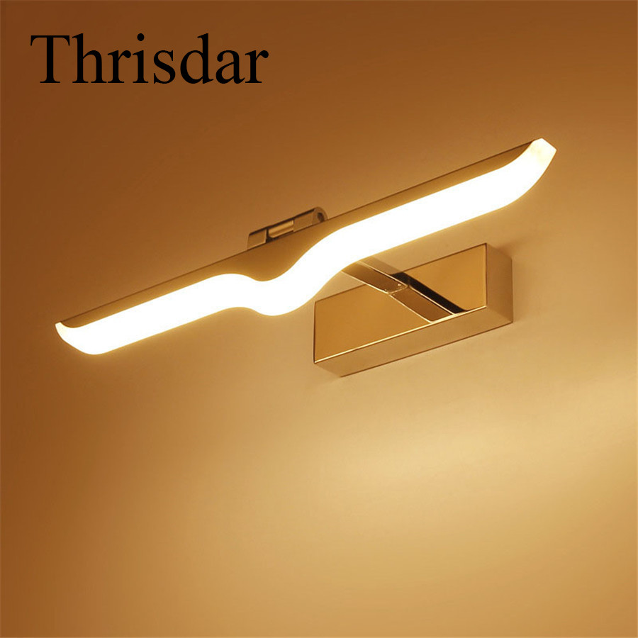 Thrisdar 9W 12W Luxury Bathroom Mirror Wall Lamps Acrylic+Aluminum Anti-fog Cosmetic Bathroom Hallway Stair bedside Sconce Light modern acryl aluminum 4 heads led 12w mirror lamps for bathroom aisle 65cm waterproof ip65 anti fog indoor wall lamps 1184