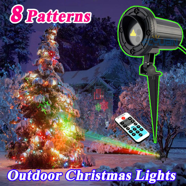 outdoor star elf light laser shower projector motion 8 christmas theme pattern holiday decorative lights red