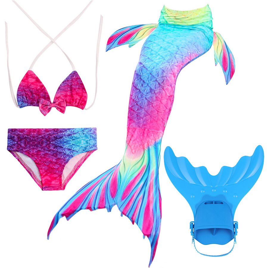 Mermaid Tail Swimsuit Swimmable Bikini Set Swimwear For Girl Princess Swimmable Mermaid Tail Cosplay Costume Home
