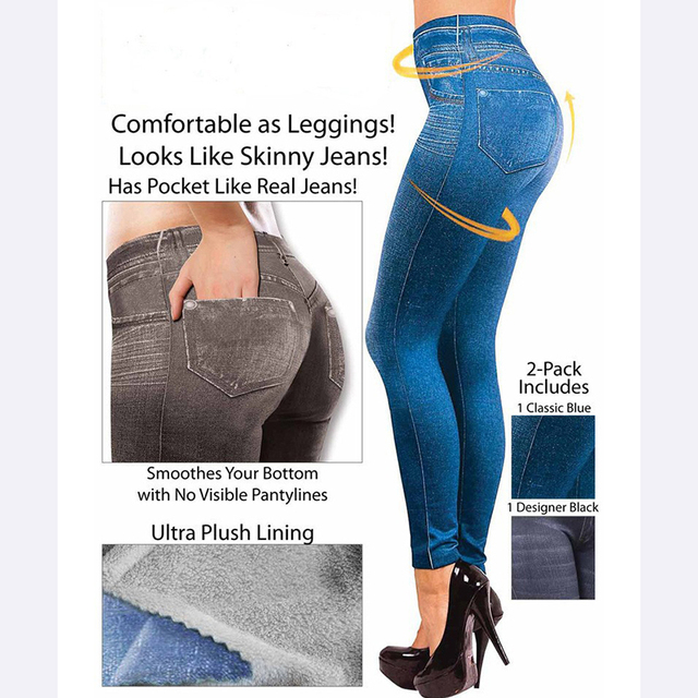 Slim S-XXL Women High Waist Faux Jeans Leggings