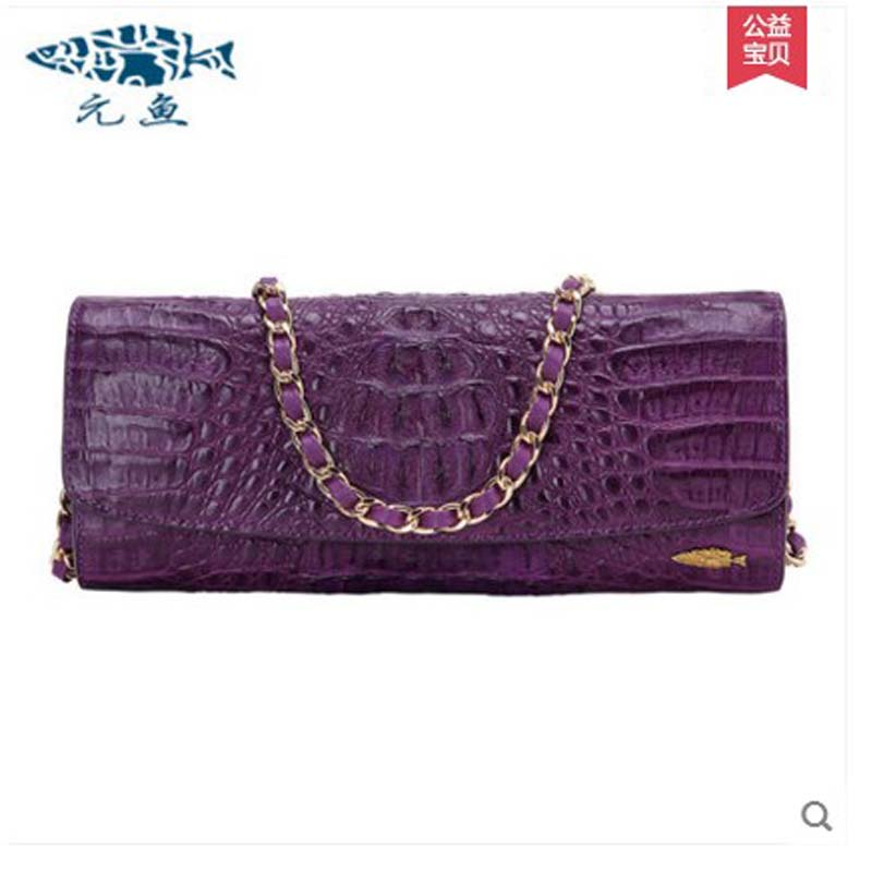 где купить yuanyu 2018 new hot free shipping thai crocodile female bag single shoulder bag ladies fashion women long chain women bag дешево