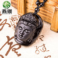 New Natural Obsidian Carving Scrub Guanyin Head Pendant Men And Women 's Gift Black Beads Curtain Jade Jewelry Necklace pendants