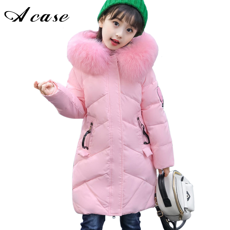 Children's Clothing Girls Winter Down Jacket 2018 Baby Kids Long Fur Hooded Thick Outerwear Toddler Girl Warm Padded Cotton Coat winter baby girl coats kids warm long thick hooded jacket for girls 2017 casual toddler girls clothes children outerwear