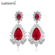 LUOTEEMI Luxury Bridal Dangle Party Earrings Wedding Jewelry Four Colors Choice AAA Cubic Zirconia Drop Earrings for Women