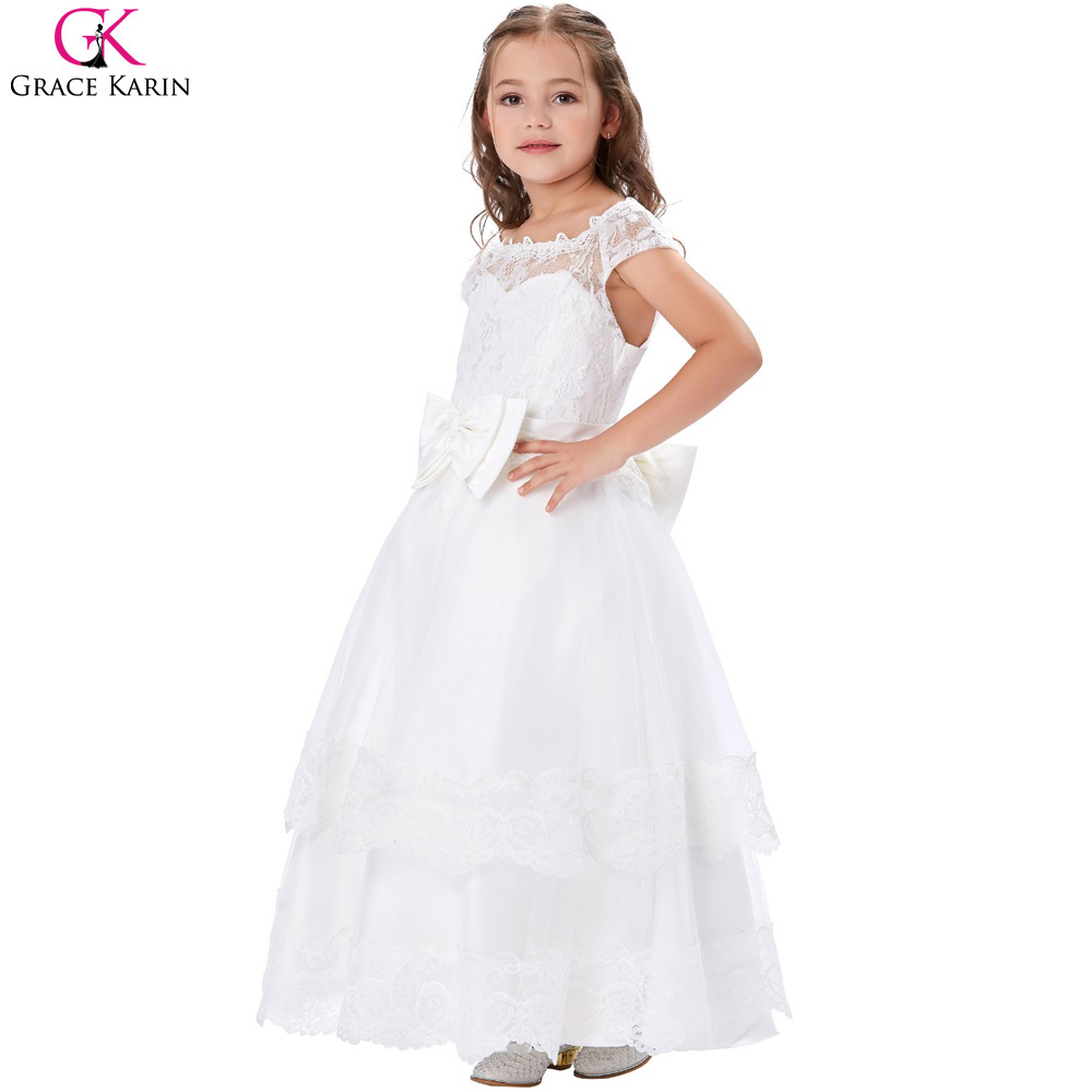 8b657462ab6 Grace Karin Flower Girl Dresses Lace Prom Evening Party Elegant First  Communion Gowns Princess Long Pageant Dresses For Kids Bow-in Flower Girl  Dresses from ...