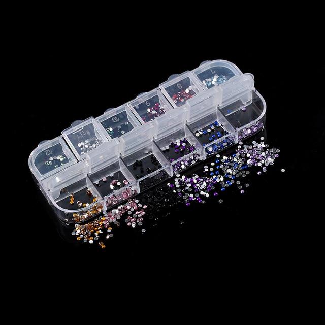 HOT Colorido Marca New Pedrinhas Deco Caso 2400 Pcs Prego Redondo Da Arte Glitter 2mm Bing Charme Dicas Decoração