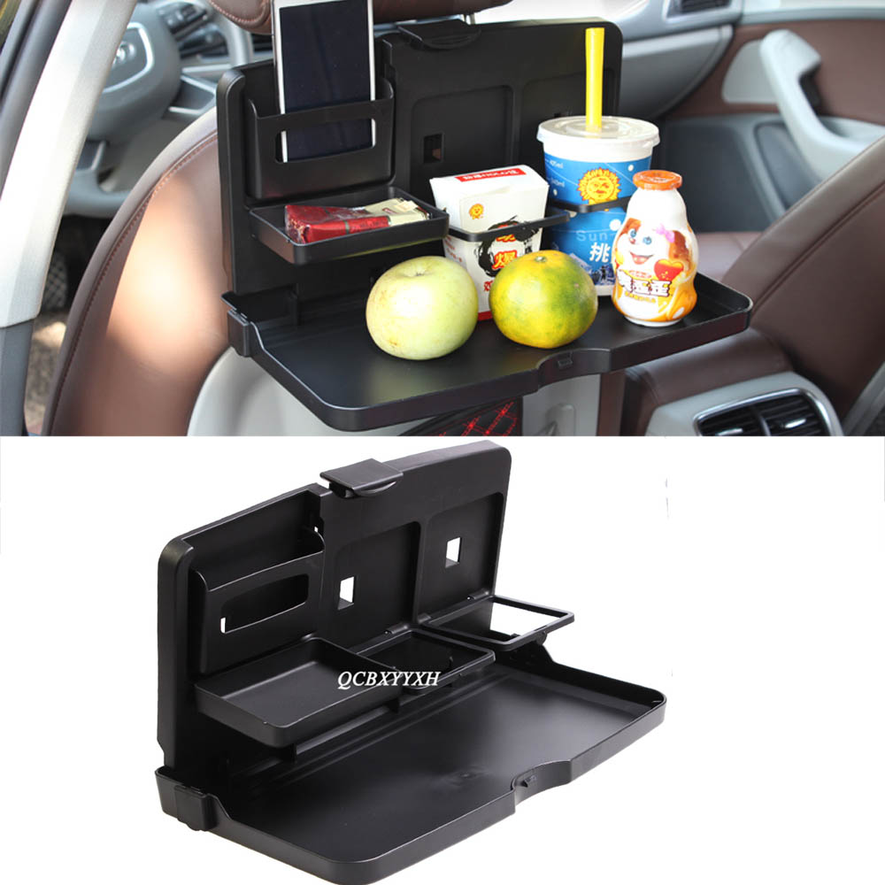 Car Styling Universal Black Food Tray Folding Dining Table Drink Holder Pallet Back Seat Water Cup ABS