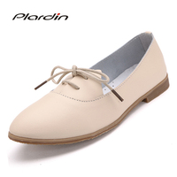 Plardin 2018 Four Seasons Woman Ballet Flats Pointed Toe Ruffles Sewing Lace Up Leather Shoes Fashion