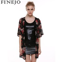 FINEJO 2018 New Women Fashion Half Sleeve Print Loose Chiffon Long Cardigan Top Blouse Coat Summer