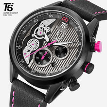 Brand T5 Leather Strap Black Rose Gold Male Clock Quartz Mens Chronograph Waterproof Sport Wrist Watch Men Watches Wristwatch(China)