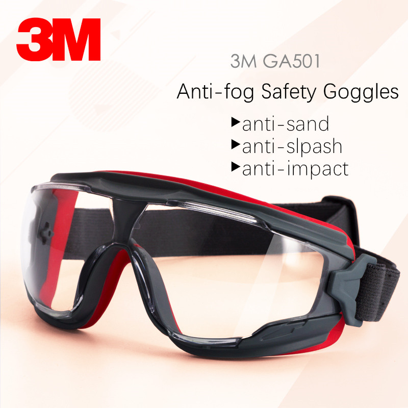 3M GA501 Safety Goggles Genuine Protective Glasses For Work Anti-fog Impact Lens Riding Sport Labor Wind Sand Protection Glasses
