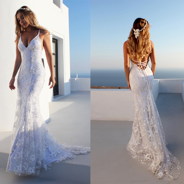2018 Summer Beach Boho White V-neck Low Backless Mermaid Sexy Wedding  Dresses Sweep Train High-End Customized Bridal Gown 43713c349bf6