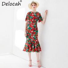 Delocah Women Summer Trumpet Mermaid Dress Runway Fashion Flare Sleeve Floral Printed High Waist Elegant Vintage Midi Dresses