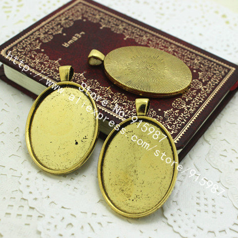 9f7855a4da7 Sweet Bell 8pcs lot Antique gold Oval Cabochon Base Pendant Blanks Setting  30 40mm Jewelry Blanks Pendant Charms D0204