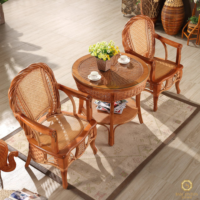 Natural Rattan Chair Three Piece Coffee Table Really Simple Wicker Outdoor Leisure Furniture Balcony Combination